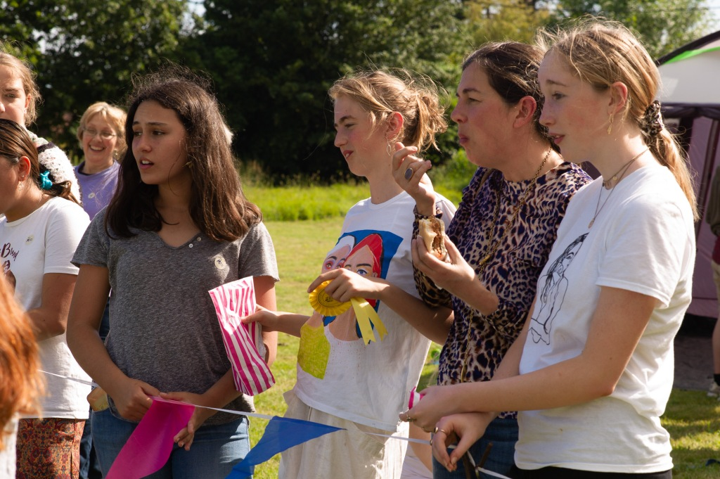 group of girls watching the fete